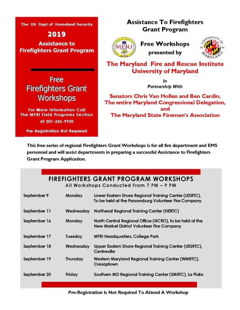 Maryland Fire and Rescue Institute -- AFG Grant Workshop